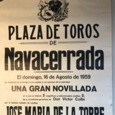 Carteles Toros: CARTEL TOROS NAVACERRADA, MADRID- 1959. Lote 177090162