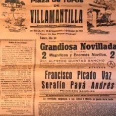 Carteles Toros: CARTEL DE TOROS VILLAMANTILLA , SEPTIEMBRE DE 1968. Lote 177090312