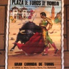 Carteles Toros: CARTEL DE TOROS PLAZA DE RONDA 1954, VERSIÓN DE 1991. Lote 177091678