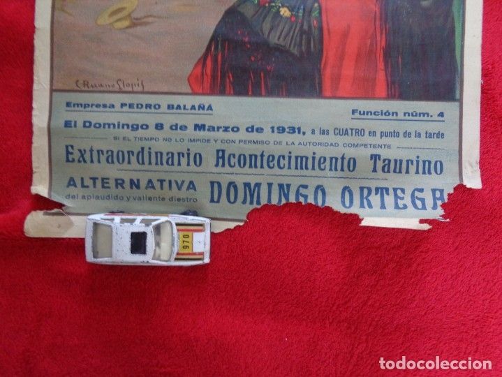 Carteles Toros: CARTEL TOROS - BARCELONA - MARZO DE 1931 - ALTERNATIVA DE DOMINGO ORTEGA - ILUSTR.: RUANO LLOPIS - Foto 3 - 177123477