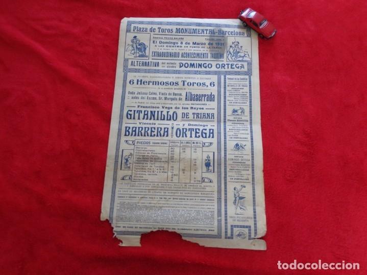 Carteles Toros: CARTEL TOROS - BARCELONA - MARZO DE 1931 - ALTERNATIVA DE DOMINGO ORTEGA - ILUSTR.: RUANO LLOPIS - Foto 5 - 177123477