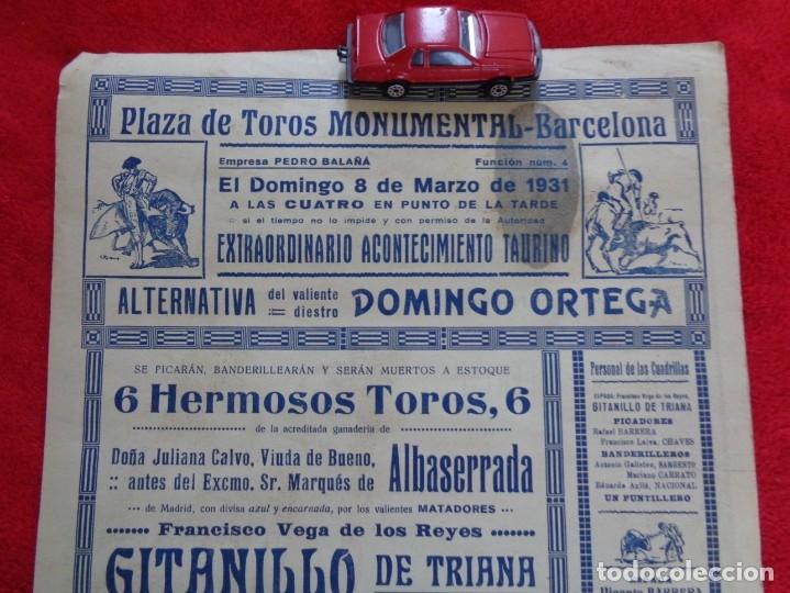 Carteles Toros: CARTEL TOROS - BARCELONA - MARZO DE 1931 - ALTERNATIVA DE DOMINGO ORTEGA - ILUSTR.: RUANO LLOPIS - Foto 6 - 177123477