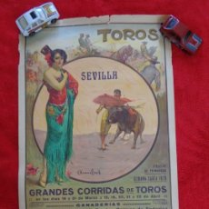 Carteles Toros: CARTEL TOROS - SEVILLA - ABRIL DE 1931 - CHICUELO - NIÑO DE LA PALMA ... - ILUSTR.: RUANO LLOPIS. Lote 177127949