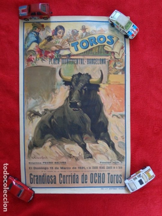 CARTEL TOROS - BARCELONA - MARZO DE 1931 - ALTERNATIVA DE DOMINGO ORTEGA - ILUSTR.: RUANO LLOPIS (Coleccionismo - Carteles Gran Formato - Carteles Toros)