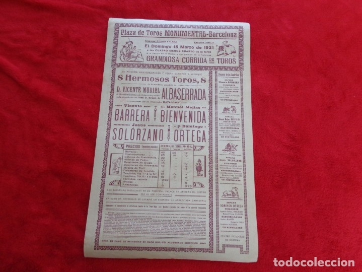 Carteles Toros: CARTEL TOROS - BARCELONA - MARZO DE 1931 - ALTERNATIVA DE DOMINGO ORTEGA - ILUSTR.: RUANO LLOPIS - Foto 4 - 177128537