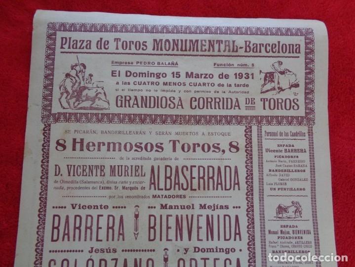 Carteles Toros: CARTEL TOROS - BARCELONA - MARZO DE 1931 - ALTERNATIVA DE DOMINGO ORTEGA - ILUSTR.: RUANO LLOPIS - Foto 5 - 177128537