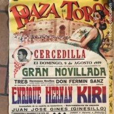 Carteles Toros: CARTEL PÓSTER NOVILLADA DE TOROS CERCEDILLA 1959. Lote 177134434
