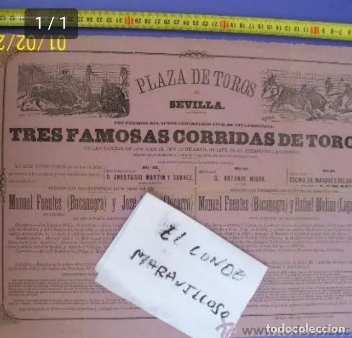 CARTEL DE TOROS PLAZA DE TOROS DE SEVILLA DEL 1800 (Coleccionismo - Carteles Gran Formato - Carteles Toros)
