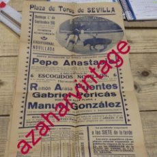 Affissi Tauromachia: SEVILLA, 1946, CARTEL NOVILLADA DEBUT DE MANOLO GONZALEZ, MUY RARO,21X43 CMS. Lote 177597302