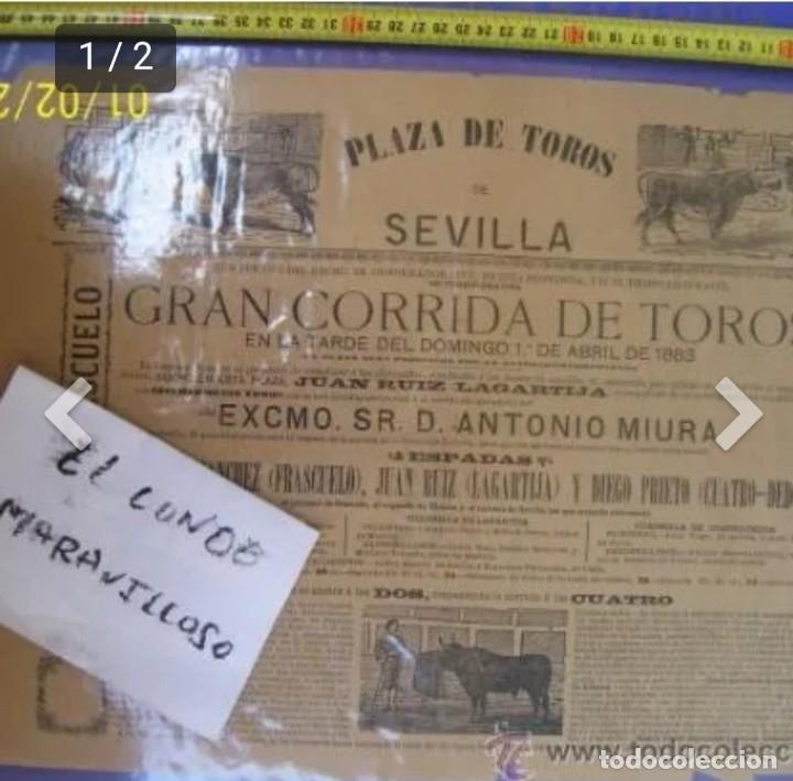CARTEL DE TOROS PLAZA DE TOROS DE SEVILLA 1883 (Coleccionismo - Carteles Gran Formato - Carteles Toros)