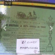 Carteles Toros: CARTEL ANTIGUOL DE TOROS PLAZA DE TOROS DE SEVILLA. Lote 177617774