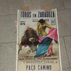 Carteles Toros: CARTEL TOROS, PLAZA DE ZARAGOZA 1976 ALTERNATIVA MUY DIFÍCIL , LITOGRAFIA ORIGINAL,. Lote 177880750