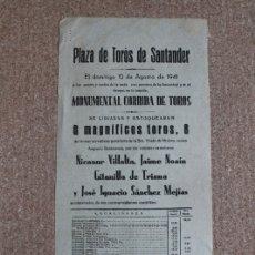 Carteles Toros: CARTEL DE TOROS DE SANTANDER. 20 DE AGOSTO DE 1943. DOMINGO ORTEGA, PEPE BIENVENIDA Y JUAN BELMONTE. Lote 178036167