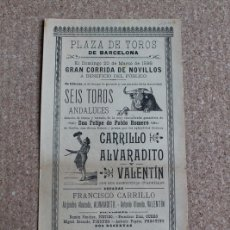 Carteles Toros: CARTEL DE TOROS DE BARCELONA. 20 DE MARZO DE 1898. CARRILLO, ALVARADITO Y ANTONIO OLMEDO. Lote 178036855