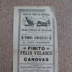 Carteles Toros: CARTEL DE TOROS DE BARCELONA. 3 DE ABRIL DE 1898. CARLOS GASCH FINITO, FÉLIX VELASCO, MIGUEL CÁNOVAS. Lote 178040049