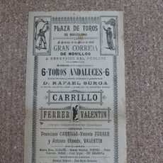 Carteles Toros: CARTEL DE TOROS DE BARCELONA. 13 DE MARZO DE 1898. FRANCISCO CARRILLO, VICENTE FERRE, ANTONIO OLMEDO. Lote 178040154
