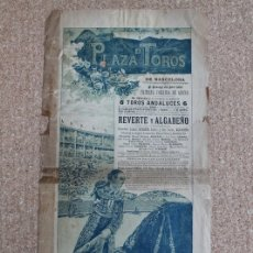 Carteles Toros: CARTEL DE TOROS DE BARCELONA. 24 DE ABRIL DE 1898. ANTONIO REVERTE JIMÉNEZ Y JOSÉ GARCÍA ALGABEÑO. Lote 178040514