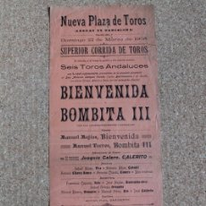 Carteles Toros: CARTEL DE TOROS DE ARENAS DE BARCELONA. 22 DE MARZO DE 1908. MANUEL MEJÍAS BIENVENIDA Y BOMBITA III. Lote 178040595