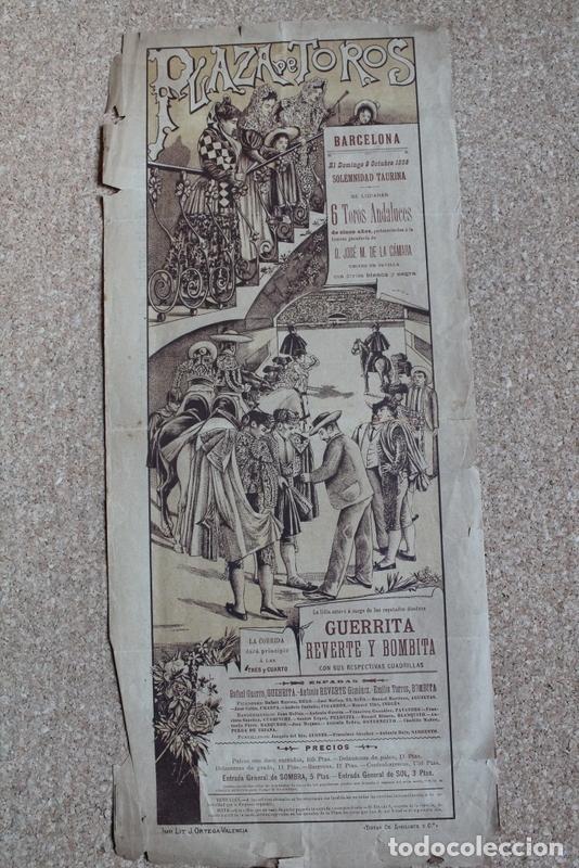 CARTEL DE TOROS DE BARCELONA. 22 DE MARZO DE 1908. MANUEL MEJÍAS BIENVENIDA Y BOMBITA III (Coleccionismo - Carteles Gran Formato - Carteles Toros)