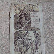 Carteles Toros: CARTEL DE TOROS DE BARCELONA. 22 DE MARZO DE 1908. MANUEL MEJÍAS BIENVENIDA Y BOMBITA III. Lote 178040732