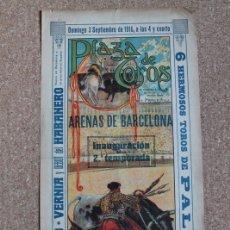 Carteles Toros: CARTEL DE TOROS DE BARCELONA. 9 DE OCTUBRE DE 1898. GUERRITA, REVERTE Y BOMBITA.. Lote 178040777