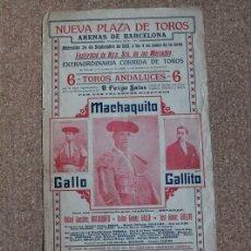 Carteles Toros: CARTEL DE TOROS DE BARCELONA. 24 DE SEPTIEMBRE DE 1913. MACHAQUITO, GALLO Y GALLITO.. Lote 178040879