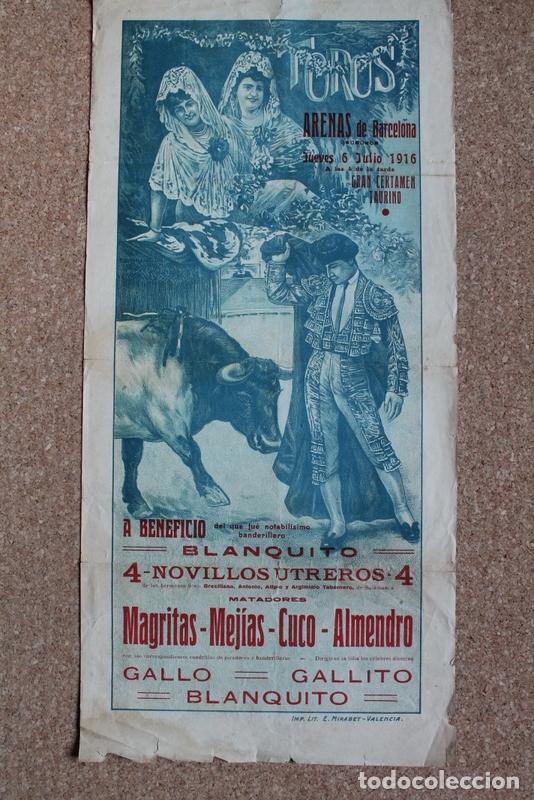 CARTEL DE TOROS DE BARCELONA. 6 DE JULIO DE 1916. ALLO, GALLITO Y BLANQUITO, IGNACIO SÁNCHEZ MEJÍAS (Coleccionismo - Carteles Gran Formato - Carteles Toros)