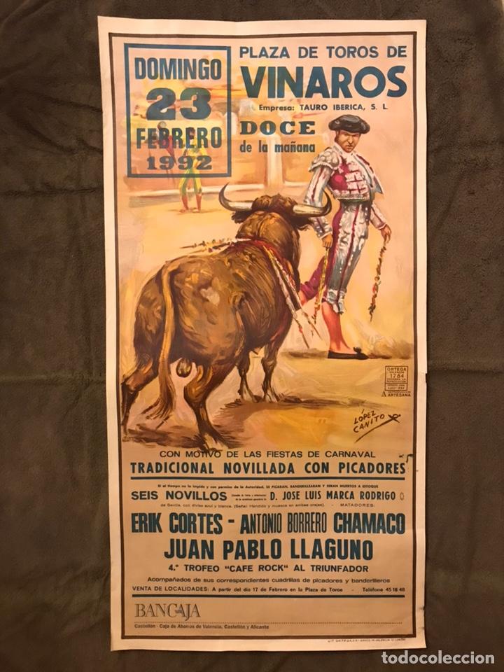 TAUROMAQUIA. CARTEL PLAZA DE TOROS DE VINAROZ. CON MOTIVO DE LAS FIESTAS DE CARNAVAL.. (Coleccionismo - Carteles Gran Formato - Carteles Toros)