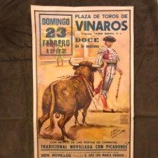 Carteles Toros: TAUROMAQUIA. CARTEL PLAZA DE TOROS DE VINAROZ. CON MOTIVO DE LAS FIESTAS DE CARNAVAL... Lote 178140425