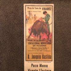 Carteles Toros: TAUROMAQUIA. CARTEL PLAZA DE TOROS DE VINAROZ. SENSACIONAL NOVILLADA SIN PICADORES. (A.1978). Lote 178290068
