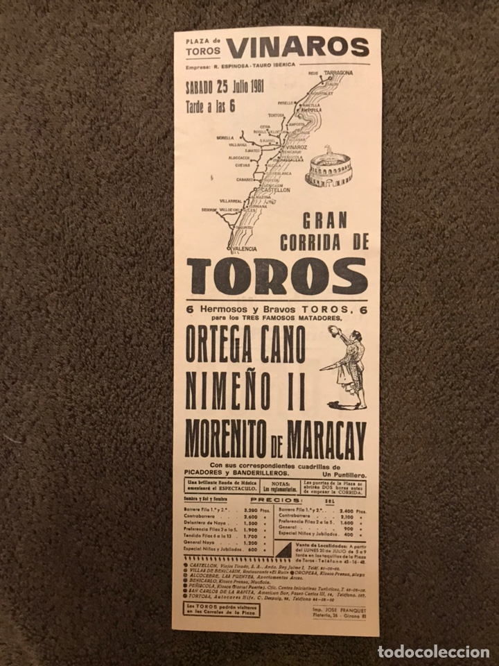 Carteles Toros: TAUROMAQUIA. Cartel Plaza de Toros de VINAROS. Gran corrida de toros. (a.1981) - Foto 2 - 178290442