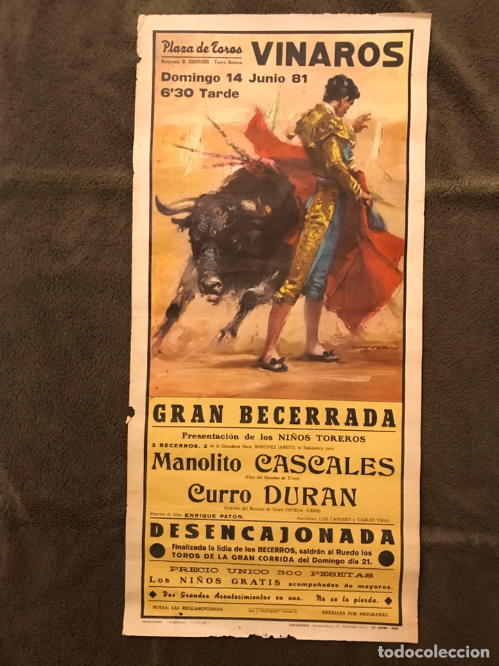 TAUROMAQUIA. CARTEL PLAZA DE TOROS DE VINAROZ. GRAN BECERRADA. PRESENTACION DE LOS NIÑOS TOREROS (Coleccionismo - Carteles Gran Formato - Carteles Toros)