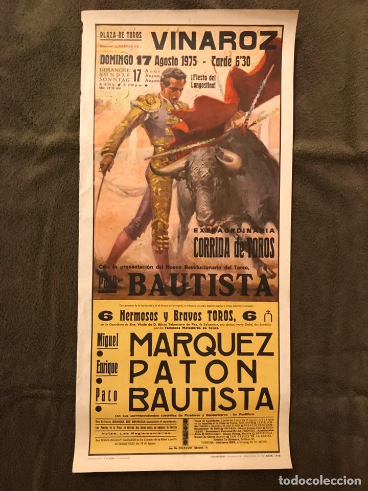 TAUROMAQUIA. CARTEL PLAZA DE TOROS DE VINAROZ.(A.1975). EXTRAORDINARIA CORRIDA DE TOROS. (Coleccionismo - Carteles Gran Formato - Carteles Toros)
