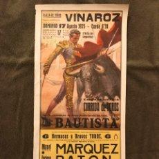 Carteles Toros: TAUROMAQUIA. CARTEL PLAZA DE TOROS DE VINAROZ.(A.1975). EXTRAORDINARIA CORRIDA DE TOROS.. Lote 178293452