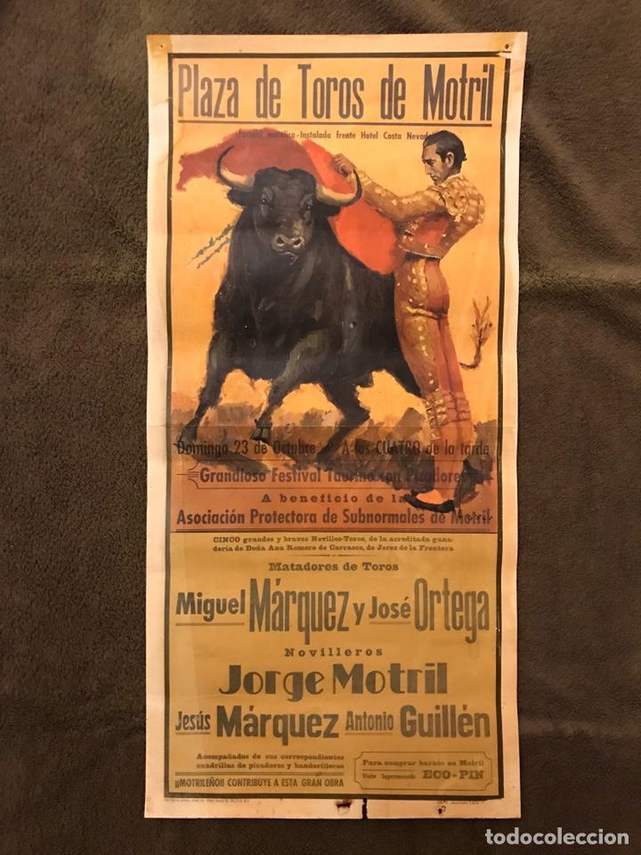 TAUROMAQUIA. CARTEL PLAZA DE TOROS DE MOTRIL (H.1970?) GRANDIOSO FESTIVAL TAURINO CON PICADORES . (Coleccionismo - Carteles Gran Formato - Carteles Toros)