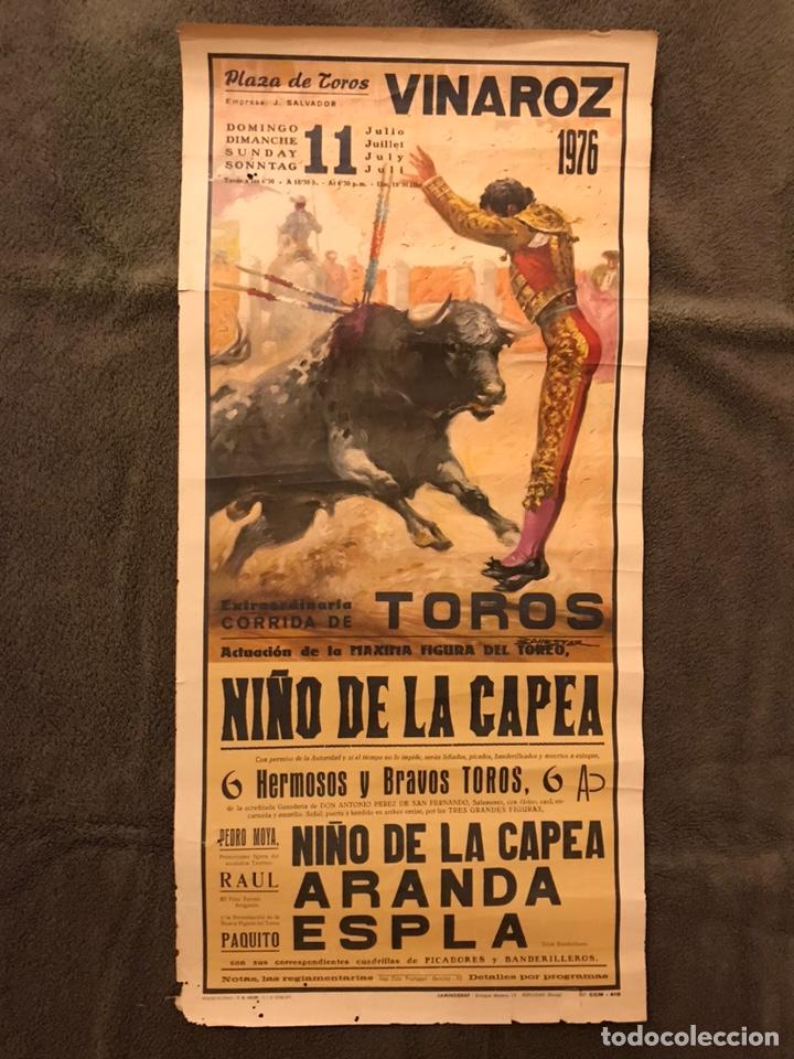 TAUROMAQUIA. CARTEL PLAZA DE TOROS DE VINAROZ.(A.1976) EXTRAORDINARIA CORRIDA DE TOROS.... (Coleccionismo - Carteles Gran Formato - Carteles Toros)