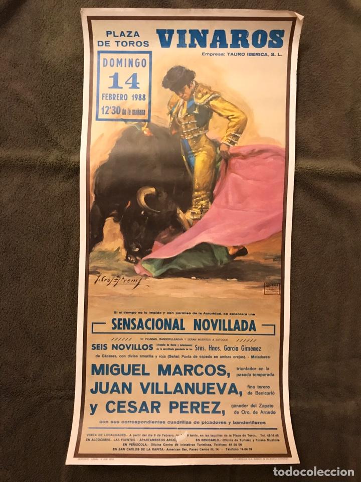 TAUROMAQUIA. CARTEL PLAZA DE TOROS DE VINAROZ. SENSACIONAL NOVILLADA...(A.1988) (Coleccionismo - Carteles Gran Formato - Carteles Toros)