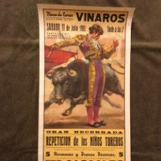 Carteles Toros: TAUROMAQUIA. CARTEL PLAZA DE TOROS DE VINAROZ. GRAN BECERRADA. PRESENTACION DE LOS NIÑOS TOREROS. Lote 178297725