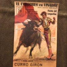 Carteles Toros: TAUROMAQUIA. CARTEL EL CORDOBES EN VINAROZ. SENSACIONAL Y EXTRAORDINARIA....(A.1970). Lote 178298698