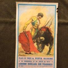Carteles Toros: TAUROMAQUIA. BILBAO. PLAZA DE TOROS DE VISTA ALEGRE. (A.1974) ENORME NOVILLADA.... Lote 178299342