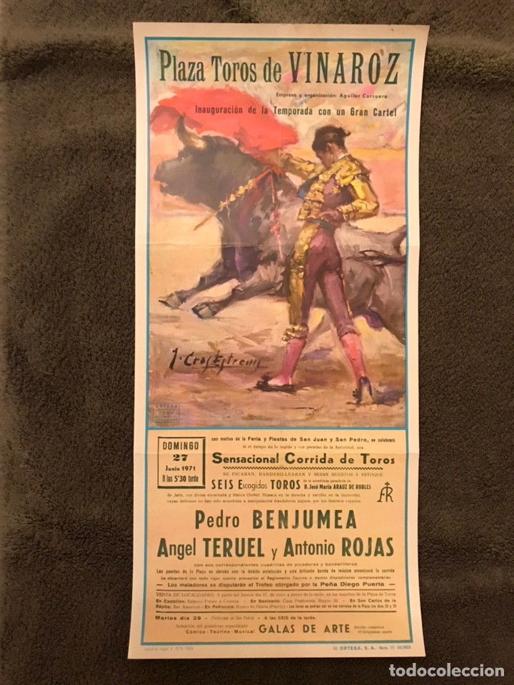 TAUROMAQUIA. CARTEL PLAZA DE TOROS DE VINAROZ. INAUGURACIÓN DE LA TEMPORADA...(A.1971) (Coleccionismo - Carteles Gran Formato - Carteles Toros)