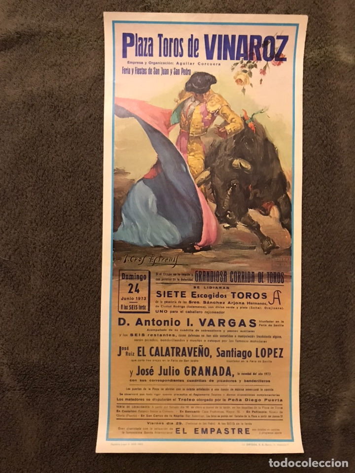 TAUROMAQUIA. CARTEL PLAZA DE TOROS DE VINAROZ. FERIA Y FIESTAS DE SAN JUAN Y SAN PEDRO (A.1973) (Coleccionismo - Carteles Gran Formato - Carteles Toros)