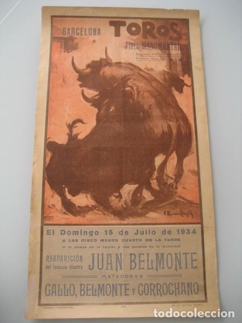 CARTEL TOROS PLAZA MONUMENTAL BARCELONA 1934. JUAN BELMONTE, RAFAEL GOMEZ GALLO, ALFREDO CORROCHANO (Coleccionismo - Carteles Gran Formato - Carteles Toros)
