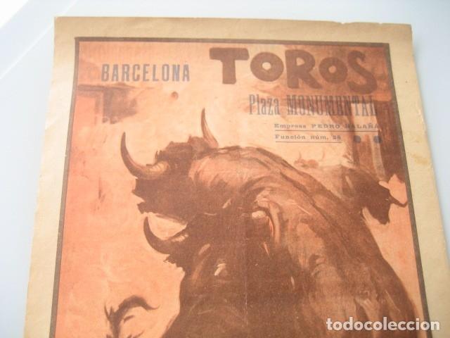 Carteles Toros: CARTEL TOROS PLAZA MONUMENTAL BARCELONA 1934. JUAN BELMONTE, RAFAEL GOMEZ GALLO, ALFREDO CORROCHANO - Foto 2 - 178354045