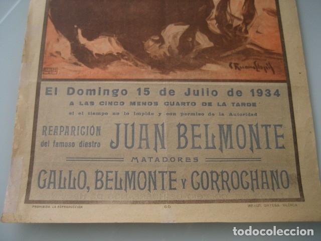 Carteles Toros: CARTEL TOROS PLAZA MONUMENTAL BARCELONA 1934. JUAN BELMONTE, RAFAEL GOMEZ GALLO, ALFREDO CORROCHANO - Foto 3 - 178354045