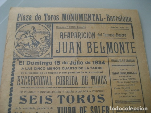 Carteles Toros: CARTEL TOROS PLAZA MONUMENTAL BARCELONA 1934. JUAN BELMONTE, RAFAEL GOMEZ GALLO, ALFREDO CORROCHANO - Foto 4 - 178354045