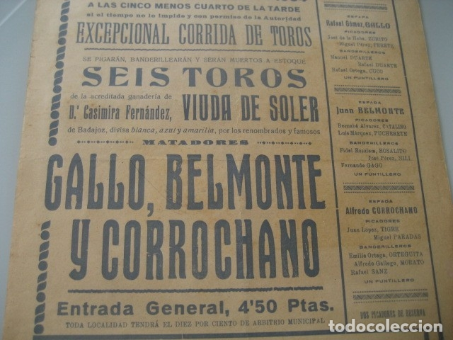 Carteles Toros: CARTEL TOROS PLAZA MONUMENTAL BARCELONA 1934. JUAN BELMONTE, RAFAEL GOMEZ GALLO, ALFREDO CORROCHANO - Foto 5 - 178354045