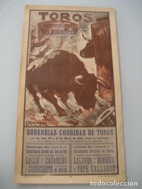 CARTEL TOROS PLAZA MONUMENTAL BARCELONA 1934. GALLO, CAGANCHO, CARNICERITO DE MEXICO, LALANDA, BARRE (Coleccionismo - Carteles Gran Formato - Carteles Toros)