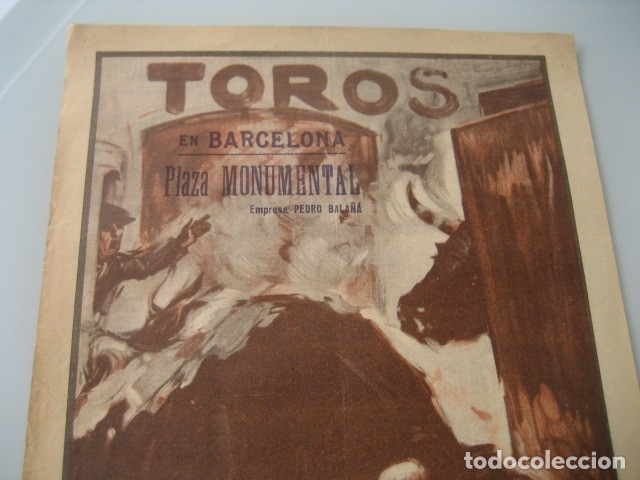 Carteles Toros: CARTEL TOROS PLAZA MONUMENTAL BARCELONA 1934. GALLO, CAGANCHO, CARNICERITO DE MEXICO, LALANDA, BARRE - Foto 2 - 178354842