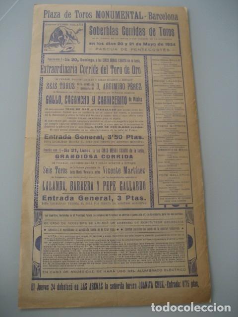 Carteles Toros: CARTEL TOROS PLAZA MONUMENTAL BARCELONA 1934. GALLO, CAGANCHO, CARNICERITO DE MEXICO, LALANDA, BARRE - Foto 4 - 178354842